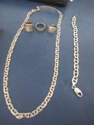 Corrente,anel e pulseira de prata