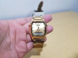 Relógio Skmei Dourado Analógico e Digital Aço Inox Com Caixa