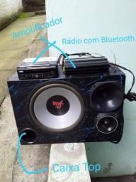 Dvd/radio, amplicador e caixa de som