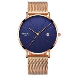 2481418690d Relógio Nibosi Unissex Feminino Masculino Ref. 2321 Dourado Rose