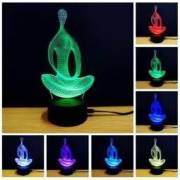Luminária 3D usb - Yoga (Novo)
