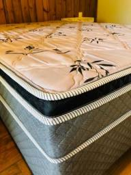 Cama Box Casal Herval Nature Bambu com Pillow Inn e Molas Bonnel