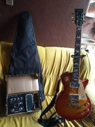 Guitarra Less Paul vogga e pedaleira zoom G2.1u