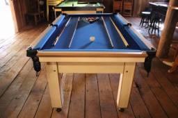 Mesa Tentação e Jantar Cor Cerejeira Tecido Azul Mod. XSPZ0622