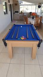 Mesa Tentação de Bilhar Cor Cerejeira Tecido Azul Mod. CDAJ8269