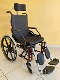 Cadeira de Rodas Reclinável Confort Tetra 44cm Vinho - Prolife