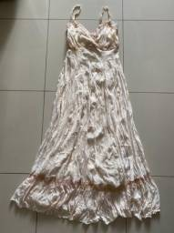 Vestido longo de crepe de seda bege