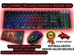 kit combo mouse ,teclado semi mecanico e mouse pad(leia)