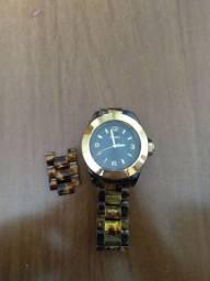 Relógio EURO feminino marrom e dourado
