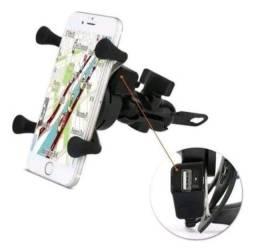 Suporte pra moto com carregador USB