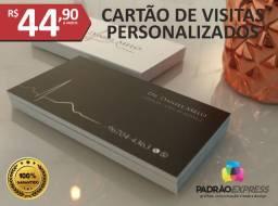 Cartões de visita personalizados em couchê ou verniz localizado