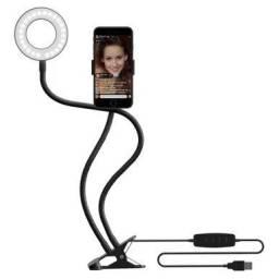 Ring Light de mesa com suporte para celular dobrável