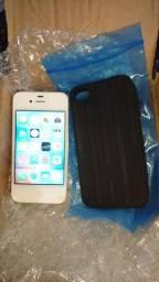 IPhone 4s limpo, muito bem conservado + capa silicone maleável, carregador, fone