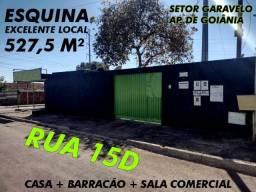 Esquina 527,5m² - Casa + 2 Barracões + Sala Comercial