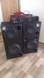 1 potência e 2 caixas de som