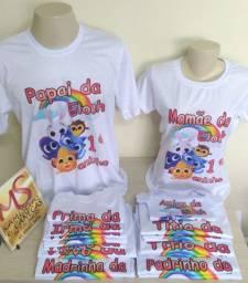 Kit aniversário camisetas personalizadas, pode escolher o tema...