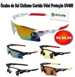 Óculos Branco Bike Ciclismo Corrida Vôlei Esportivo Espelhado Proteção Uv400