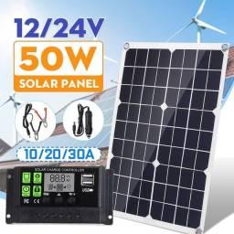 Painel solar com controlador de carga, excelente para camping