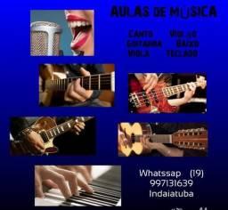 Aulas de violão guitarra baixo canto e teclado em Indaiatuba