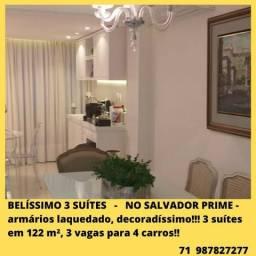 Oportunidade - Lindo apartamento 3 suítes, 122m², decoradíssimo - no Salvador Prime