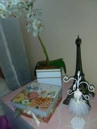 Caixa, orquidea, torre eiffle e bailarina porta cordões