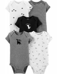 Kit de bodies dinossaurus, 5 peças, Carters, tamanhos 18 e 24 meses