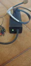 Fonte, cabos e headfone Xbox 360 originais
