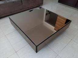 Mesa De Centro Quadrada Espelho Bronze Bisotado 100x100x25