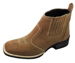Bota country botina estilo texana bico quadrado