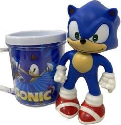 Boneco Sonic Azul + Caneca Personalizada - Kit - Dia das Crianças