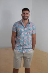 Camisa De Linho Estampada - Tamanho P