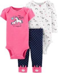 Conjunto, 2 bodies e 1 calça, Carters, tamanho 12, 18 meses