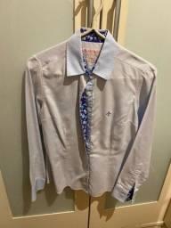 camisa dudalina tam 38 azul clara com textura