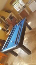 Mesa Tentação 1,93 x 1,18 Cor Preta Tecido Azul Mod. RVDB5486