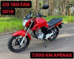 CG 160 FAN 2019 APENAS 7.000 KM SEM DETALHES (aceito troca e financio)