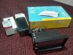 Multimidia, rotiador tp link, e celular j1. Parafusadeira elétrica Makita.  TUDO: 500.00