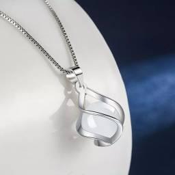 Título do anúncio: Colar ágata opala prata esterlina 925 com pingente gota moda feminina de ótima qualidade.