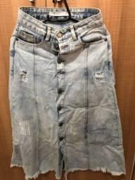 Saia jeans midi - afghan - Tam 34 (Veste 36 e 38)