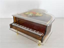 Antiga Caixinha de Música Porta-Jóias em Formato de Piano
