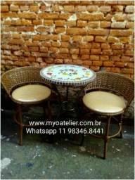 Conjunto mesa varanda sacada mosaico