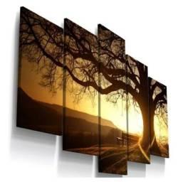 Conjunto 5 quadros paisagem árvore entardecer sala quarto