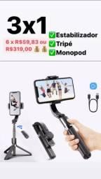 Gimbal Estabilizador L08 Bluetooth Selfie Stick E TriPod