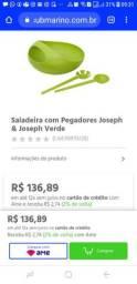 Linda e Sofisticada Saladeira com Pegadores Verde da Joseph & Joseph Nova