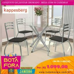 BOTA FORA JANEIRO - Conjunto Sala de Jantar Kappesberg Mesa Tampo de Vidro 4 Cadeiras