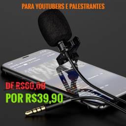 Microfone Lapela Celular P/youtubers stéreo Hd Profissional