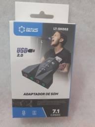 Placa De Som Adaptador Usb 7.1 Para 2 Fone Microfone