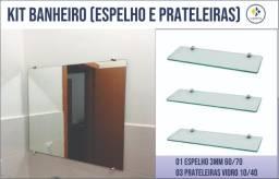 Espelho e e prateleira para banheiro