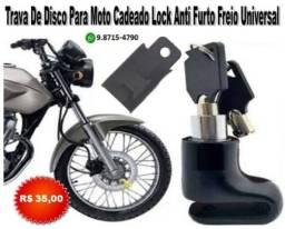 Trava De Disco Para Moto Cadeado Lock Anti Furto Freio Universal