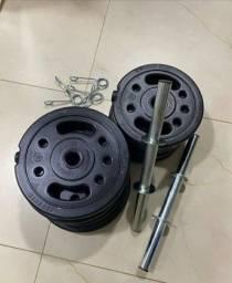 Kit 2x barra 40cm + presilhas + 32kg anilhas em pvc