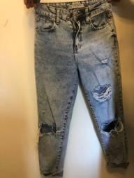 calça jeans cintura alta rasgadinha